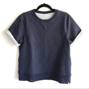 KIT AND ACE Crew Neck Short Sleeve Sweatshirt Navy